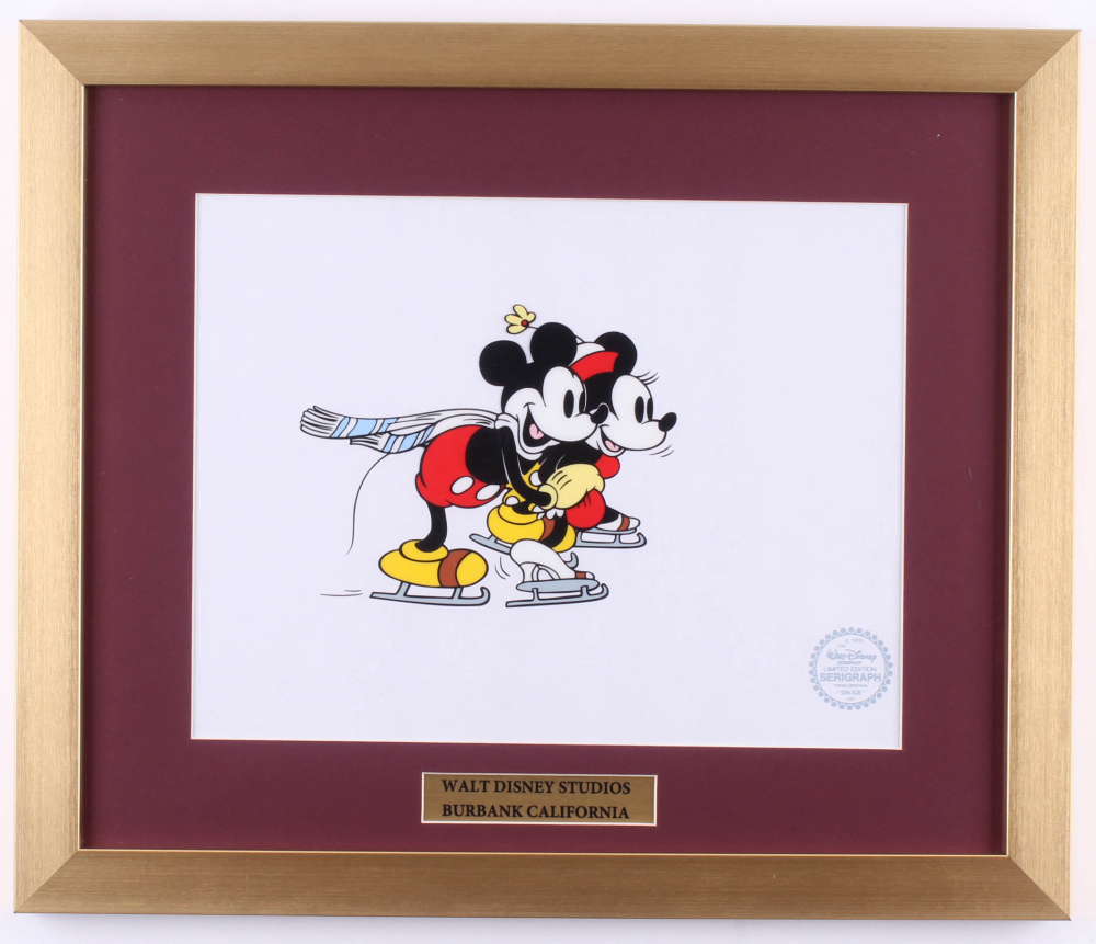 """Mickey Mouse & Mini Mouse Disney """"On Ice"""" LE 16x19 Custom Framed Animation Serigraph Cel at PristineAuction.com"""