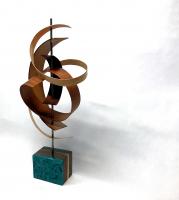 "Jeff Linenkugel ""Ribbon"" 10x10x22.5 Mixed Media Wood Sculpture at PristineAuction.com"