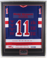 Mark Messier Signed LE Rangers 33.25x41.25 Custom Framed Career Highlight Stat Jersey Display (JSA COA & Sports Memorabilia Hologram) at PristineAuction.com