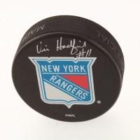 Vic Hadfield Signed New York Rangers Logo Hockey Puck (Beckett COA) at PristineAuction.com