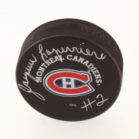Jacques Laperriere Signed Canadiens Logo Hockey Puck (Beckett COA) at PristineAuction.com
