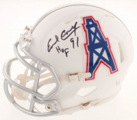 "Earl Campbell Twice-Signed LE Oilers / Heisman Trophy Matte White Speed Mini Helmet Inscribed ""HOF 91"" & ""HT 77"" (JSA COA) at PristineAuction.com"