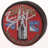Brian Leetch Signed 1993-94 Rangers Stanley Cup Champions Logo Hockey Puck (JSA COA) at PristineAuction.com