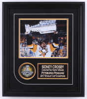 Sidney Crosby Signed Penguins 17x19 Custom Framed 2017 Stanley Cup Champions Logo Puck Display with Photo (FSM COA) at PristineAuction.com