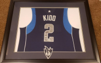 Jason Kidd Signed 30x35 Custom Framed Jersey Display (Beckett COA) at PristineAuction.com