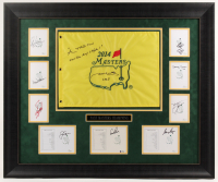 "Masters Champions 30.5x36.5 Custom Framed Golf Pin Flag & Scorecards Display Signed by (10) with Jim Nantz, Arnold Palmer, Jack Nicklaus Inscribed ""A Tradition Unlike Any Others!"" & ""CBS"" (JSA ALOA, JSA COA, & Beckett LOA) at PristineAuction.com"