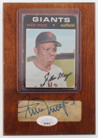 Willie Mays Signed Giants 4.5x6.5 Custom Card Wooden Plaque Display (JSA COA) at PristineAuction.com
