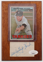 Whitey Ford Signed Yankees 4.5x6.5 Custom Card Wooden Plaque Display (JSA COA) at PristineAuction.com