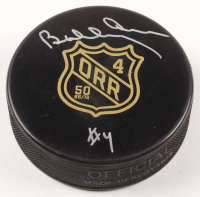 Bobby Orr Bruins Signed Official NHL Bruins 50th Anniversary Logo Puck (Orr COA) at PristineAuction.com
