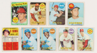 Lot of (9) 1969 Topps Baseball Cards with #20 Ernie Banks, #412 Checklist 5 / Mickey Mantle, #424 Pete Rose AS, #255 Steve Carlton, #355 Phil Niekro at PristineAuction.com