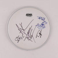 "Guns N Roses 10"" Drumhead Signed by (4) With Axl Rose, Slash, Duff McKagan & Steven Adler (AutographCOA LOA) at PristineAuction.com"