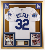 Sandy Koufax Signed Dodgers 32x36 Custom Framed Cut Display with Jersey & Solid Brass Hall of Fame Plaque (PSA LOA) at PristineAuction.com