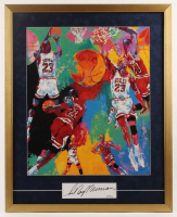 "LeRoy Neiman Signed Vintage ""Michael Jordan"" 25x31 Custom Framed Cut Display (PSA COA) at PristineAuction.com"