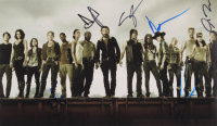 """""""The Walking Dead"""" 10.5x18 Photo Signed by (6) with Alana Masterson, Andrew Lincoln, Josh McDermitt, Michael Cudlitz (AutographCOA Hologram) at PristineAuction.com"""