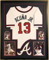 Ronald Acuna Jr. Signed 34x42 Custom Framed Jersey (JSA COA) at PristineAuction.com