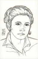 """Tom Hodges - General Leia Organa - """"Star Wars"""" - Signed ORIGINAL 5.5"""" x 8.5"""" Drawing on Paper (1/1) at PristineAuction.com"""