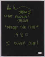 """Ari Lehman Signed """"Friday the 13th"""" 11x14 Canvas with (5) Inscriptions (JSA COA) at PristineAuction.com"""