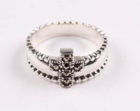 Sterling Silver Marcasite Cross Ring - SZ 7 at PristineAuction.com