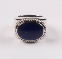 Sterling Silver Oval Lapis East - West Ring - SZ 8 at PristineAuction.com