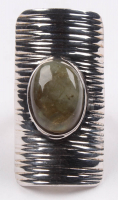 Sterling Silver Labradorite Shield Ring - SZ 6 at PristineAuction.com