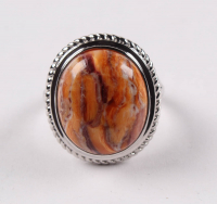 Silver Oval Lion's Paw Rope Textured Ring - SZ 7 at PristineAuction.com