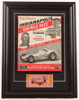 Indianapolis 500 14.5x19 Custom Framed 1956 Original Program Display with 1956 Original Ticket at PristineAuction.com
