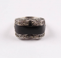 Sterling Silver Black Onyx & Marcasite Ring -  SZ 7 at PristineAuction.com