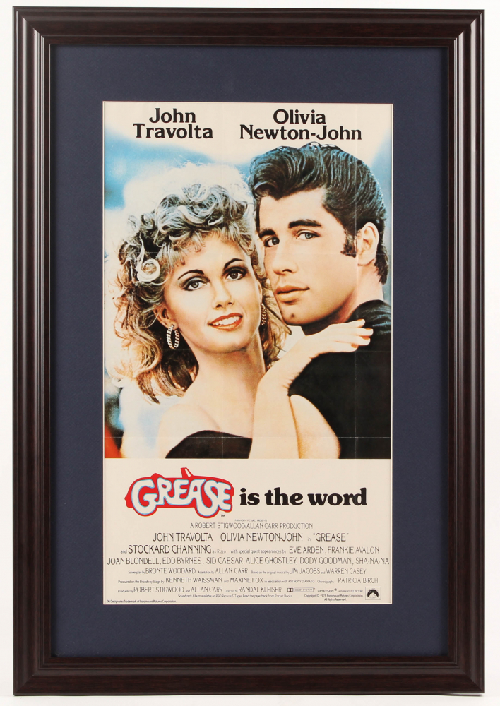 """Grease"" 17.5.x25.5 Custom Framed Movie Poster Display at PristineAuction.com"