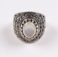 Sterling Silver MOP & Marcasite Ring - SZ 6 at PristineAuction.com