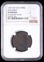 1787 New Jersey Colonial Copper Coin Copper Coin, No Plow Sprig - Planchet Flaw (NGC VF Details) at PristineAuction.com