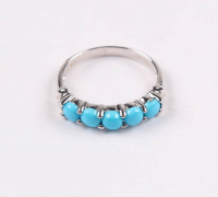 Silver Round Sleeping Beauty Turquoise Ring - SZ 8 at PristineAuction.com