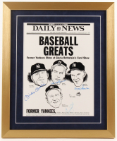 Yankee Baseball Greats 17x20.5 Custom Framed Print Display Signed by (4) with Mickey Mantle, Enos Slaughter, Hank Bauer & Moose Skowron (JSA ALOA) at PristineAuction.com