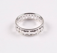 Sterling Silver Heart & Cross Band Ring - SZ 8 at PristineAuction.com