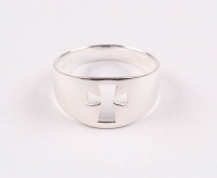 Sterling Silver Wide Cross Cut - Out Ring - SZ 8 at PristineAuction.com