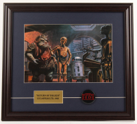 """Ralph McQuarrie """"Star Wars: Return of the Jedi"""" 18.5x20.5 Custom Framed Pre Production Art Print Display with 23 KT Gold Card & Original 1977 Pin Back at PristineAuction.com"""