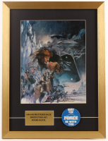 """""""Star Wars: The Empire Strikes Back"""" 16.5x22 Custom Framed Print Display with Original 1977 Star Wars Pin Back at PristineAuction.com"""