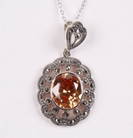 Sterling Silver Marcasite & CZ Pendant at PristineAuction.com