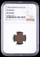 1786 German Heller Copper Coin, Bamberg (NGC VF25 BN) at PristineAuction.com
