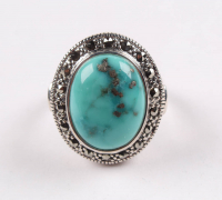 Silver Campo Frio Turuoise & Marcasite Ring - SZ 9 at PristineAuction.com