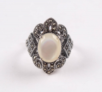 Sterling Silver White MOP & Marcasite Ring - SZ 8 at PristineAuction.com