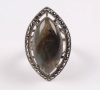 Sterling Silver Labradorite & Marcasite Ring - SZ 7 at PristineAuction.com