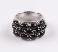 Sterling Silver Black Onyx Wide Band Ring - SZ 7 at PristineAuction.com