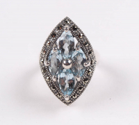 Silver Blue Topaz & Marcasite Shield Ring - SZ 6 at PristineAuction.com