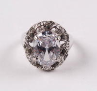 Sterling Silver Marcasite & CZ Ring - SZ 7 at PristineAuction.com
