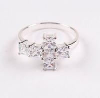 Sterling Silver CZ Cross Ring - SZ 9 at PristineAuction.com