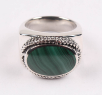 Sterling Silver Oval Malachite East - West Ring - SZ 10 at PristineAuction.com