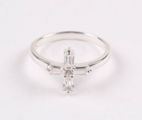 Sterling Silver Cross Cubic Zirconia Ring - SZ 8 at PristineAuction.com