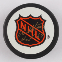 """Red Storey Signed NHL Logo Hockey Puck Inscribed """"H.O.F. 67"""" (Beckett COA) at PristineAuction.com"""