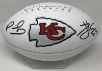 Patrick Mahomes & Travis Kelce Signed Chiefs Logo Football (Fanatics Hologram) at PristineAuction.com