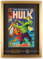 """The Incredible Hulk"" 18x25 Custom Framed Print Display with Vintage Solid Brass Hulk Emblem at PristineAuction.com"